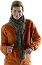 Lange gebreide sjaal met franjes  licht bruin