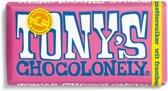 Tony's Chocolonely Wit Framboos Knettersuiker Chocoladereep- 180 gram