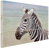 Zebra portret  Hout 30x20 cm - klein - Foto print op Hout (Wanddecoratie)