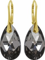 Zilveren Goudkleurige Oorbellen met Swarovski Elements Graphite 22MM