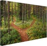 Een kruispunt in het bos Canvas 30x20 cm - Foto print op Canvas schilderij (Wanddecoratie)