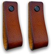 Leren handgrepen - Cognac - 2 stuks - 16,5 x 2,5 cm | incl. 3 kleuren schroeven per leren handgreep