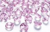 20x Decoratie diamantjes lichtroze 2 cm - Hobby/knutsel materiaal versiering