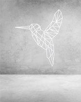 Vogel Geometrisch Hout 59 x 70 cm White - Wanddecoratie
