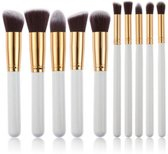 Kabuki Make up Kwastenset - 10 delig - Wit Goud