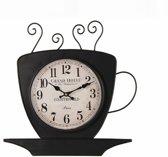 Wandklok koffiekop theekop kop en schotel Countryfield thema cadeaus dranken