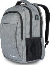 TravelMore XL Rugzak met 15.6 Inch Laptop Vak - 33 L Rugtas voor Mannen/Vrouwen - Waterdichte Anti-diefstal Backpack - Tas voor School/Werk/Reizen - Met USB - Grijs