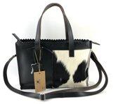 Koeienhuid meduim shopper met lange hengsel zwart-wit Van Fiel/ Lina Leather