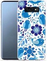 Galaxy S10e Hoesje Blue Bird and Flowers