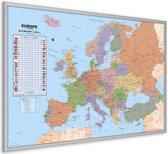 Kurk24 Kurk prikbord EUROPA KAART - zilveren lijst - 90 x 60cm