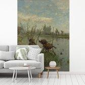 Fotobehang vinyl - Eendennesten - Schilderij van Paul Joseph Constantin Gabriël breedte 175 cm x hoogte 240 cm - Foto print op behang (in 7 formaten beschikbaar)