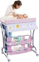 Luier Tafel Met Bad - Verzorgingstafel Op Wielen - Baby Aankleedtafel Badmeubel Aankleedkussen - Roze