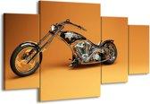 Schilderij   Canvas Schilderij Motor   Bruin, Geel, Oranje   160x90cm 4Luik   Foto print op Canvas