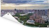 Uitzicht over het Aziatische Foshan in China Tuinposter 80x40 cm - klein - Tuindoek / Buitencanvas / Schilderijen voor buiten (tuin decoratie)