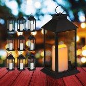 relaxdays 10 x led lantaarn - vlameffect - sfeerverlichting - windlicht - zwart - 30 cm