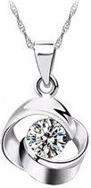 Fate Jewellery Ketting FJ403 - Revolving Flower - 45 + 5cm - Zilverkleurig met zirkonia kristal