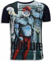 Local Fanatic Thug Life - Digital Rhinestone T-shirt - Navy - Maten: S