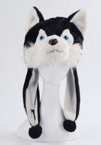 Husky wolf muts flappen oortjes zwart - hond bontmuts pluche laplander