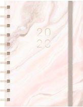 Hobbit agenda spiraal D6 week jaaragenda 2020 (klein formaat A6) marmer