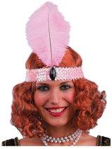 Partychimp - Haarband met veer - Charleston - Roze