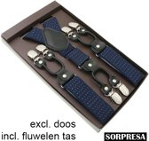Sorprese – Luxe chique – heren bretels – donkerblauw stip wit - zwart leer - 6 extra stevige clips