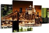 Canvas schilderij Steden | Groen, Bruin, Wit | 160x90cm 4Luik