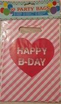 Feestzakjes-Uitdeelzakjes-Happy Birthday-Set 10 stuks-22 x 16 cm