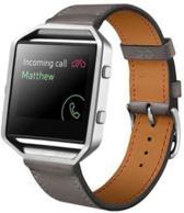 Grijs - Trendy Eco Leer armband bandtje polsband voor Fitbit Blaze