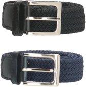 Set van 2 Zwart en Blauw - Elastische Riem - Elastiek - Stretch - Unisex - Riemmaat 110 cm
