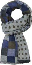 Michaelis heren sjaal - blauw - grijs - olijf geblokt