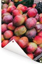 Tropische kraam met mango's Tuinposter 80x120 cm - Tuindoek / Buitencanvas / Schilderijen voor buiten (tuin decoratie)