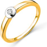 Majestine 9 Karaat Diamant Solitaire Ring Bicolor Geel-/Witgoudkleurig (375) met Diamant 0.05ct maat 50