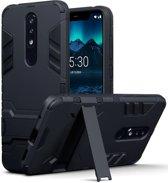Qubits - Double Armor Layer hoes met stand - Nokia 5.1 Plus - zwart