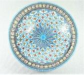 Handgemaakte en handbeschilderde authentieke Marokkaanse diep groot bord (tebsi ) 33cm
