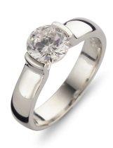 Silventi 943283661 54 Zilveren Ring - Zirkonia rond - 7 mm - Zilverkleurig