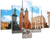 Glasschilderij Kerk | Blauw, Bruin, Crème | 100x70cm 5Luik | Foto print op Glas |  F006076