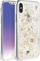 iPhone Xs Max  - UNIQ -  Zeer mooi ontworpen hoesje extreem sterk & duurzaam materiaal – Lumence Clear–  Champagne Gold, glitters & Flexibele rubberen/ transparante achterkant