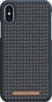 Nordic Elements Sif backcover voor Apple iPhone X/Xs -   Pied-de-poule zwart / antraciet textiel