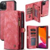 CASEME Luxe Leren Portemonnee hoesje voor de Apple iPhone 11 Pro Max - rood
