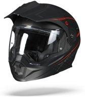 Scorpion ADX-1 Horizon Mat Zwart Neon Rood Systeemhelm - Motorhelm - Maat S