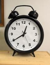 Grote retro vintage wekker klok 56 cm hoog zwart staand of hangend
