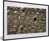 Foto in lijst - Een muur van het Citadelle Laferrière fort van dichtbij fotolijst zwart met witte passe-partout 60x40 cm - Poster in lijst (Wanddecoratie woonkamer / slaapkamer)