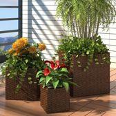 Plantenbak Bruin voor Buiten voor 3 Potten / Planten Bak voor Tuin / Planten bakken voor tuin / Bakken voor planten