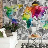 Fotobehang Modern 3D Colourful World Map | VEL - 152.5cm x 104cm | 130gr/m2 Vlies