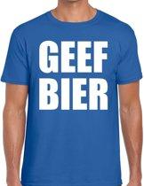 Geef Bier heren shirt blauw - Heren feest t-shirts 2XL