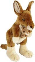 20089505228726 Pluche bruine kangoeroe met baby knuffel 28 cm - Kangoeroe met jong  buideldieren knuffels - Speelgoed