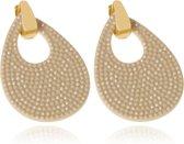 Ovale oorbellen Cilla Jewels Goud Taupe