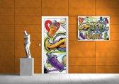 Deursticker Muursticker Graffiti | Paars | 91x211cm