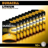 Duracell Knoopcel Lithium - CR1220 3V knoopcel batterijen - 34 mAh - voordeelverpakking - 10 stuks
