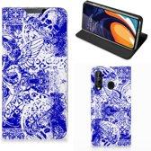 Mobiel BookCase Samsung Galaxy A60 Angel Skull Blue